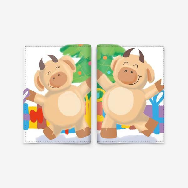 Обложка для паспорта «Бык и корова танцуют у елки с подарками. Новый год. Праздник. Дижитал арт.»