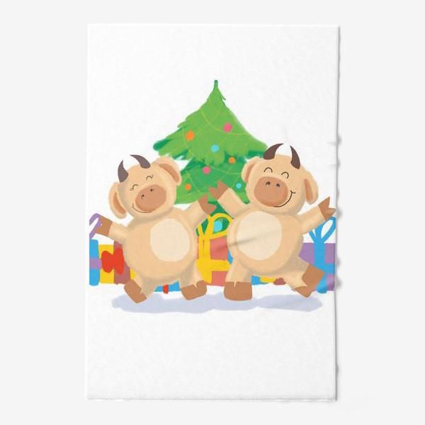 Полотенце «Бык и корова танцуют у елки с подарками. Новый год. Праздник. Дижитал арт.»