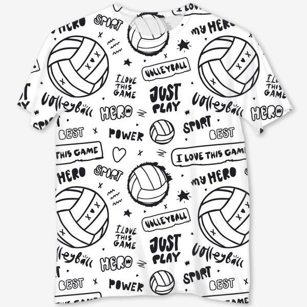 Футболка с полной запечаткой «Волейбольный мяч. Паттерн.»