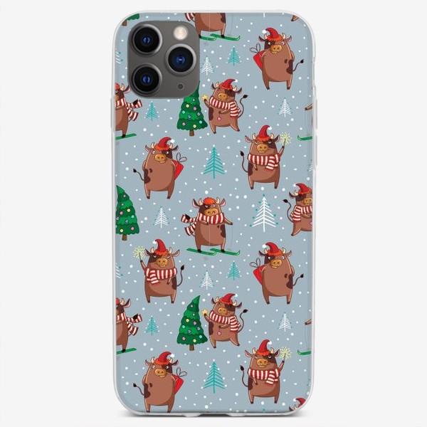 Чехол iPhone «Смешные быки, новогодний паттерн 2021»
