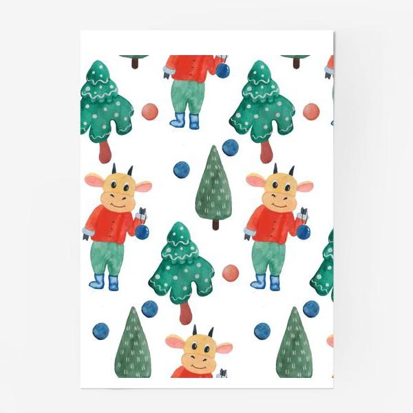 Постер «Новогодний бесшовный рисунок с милым быком»