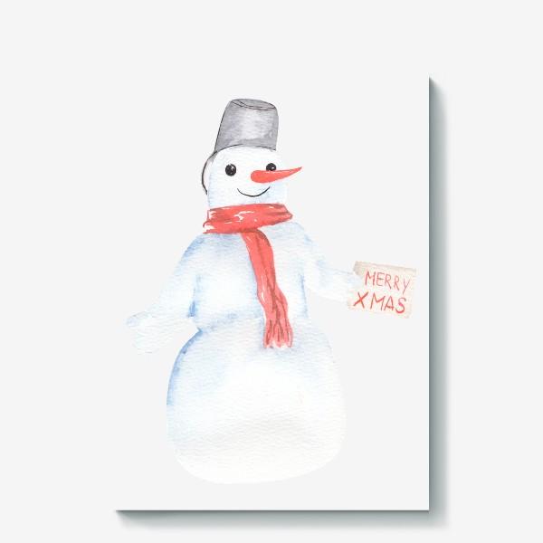 Холст «Снеговик с открыткой. Новый год»