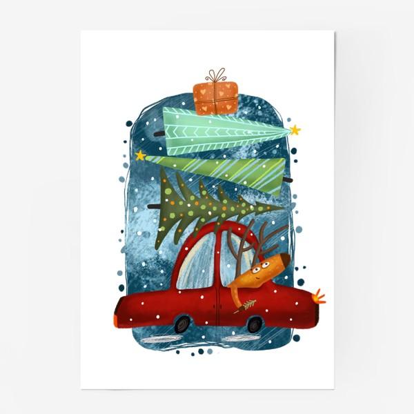 Постер «Рождественский олень и новогодние елки»