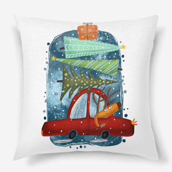 Подушка «Рождественский олень и новогодние елки»
