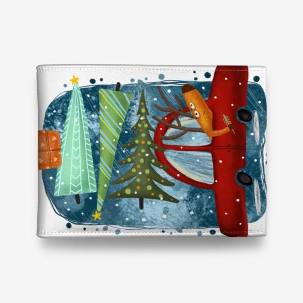 Кошелек «Рождественский олень и новогодние елки»