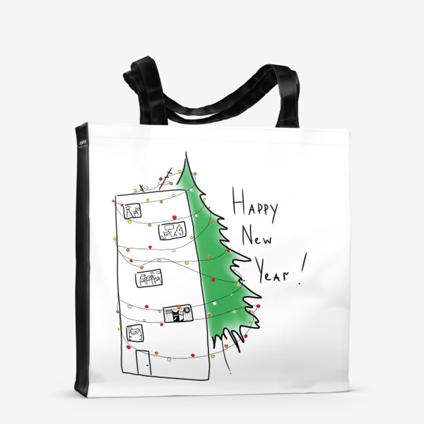 Сумка-шоппер «Новогодний дом с елкой. С новым годом!»