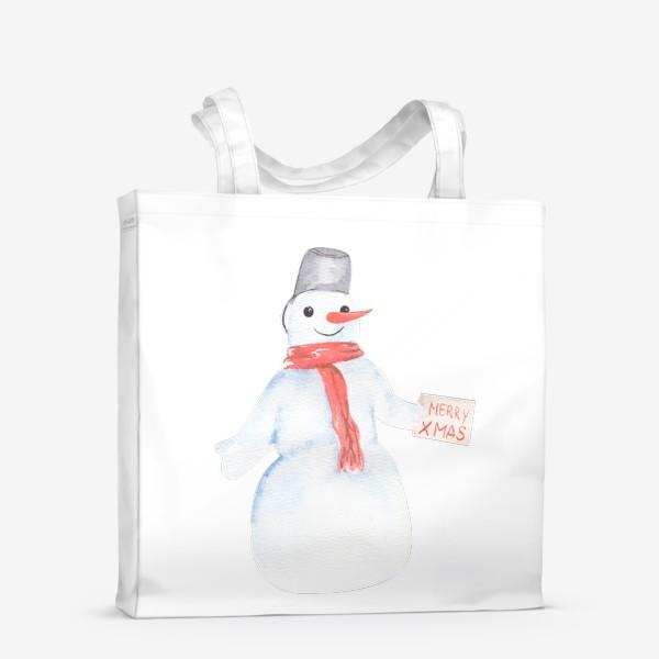Сумка-шоппер «Снеговик с открыткой. Новый год»