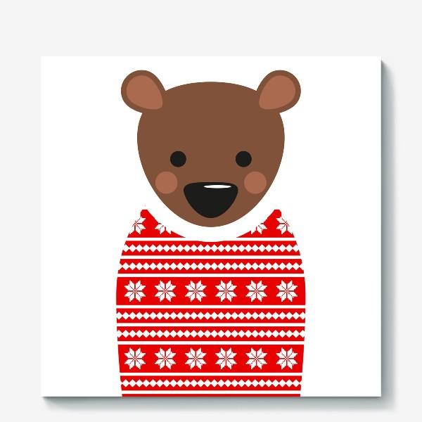 Холст «Новогодний медведь»