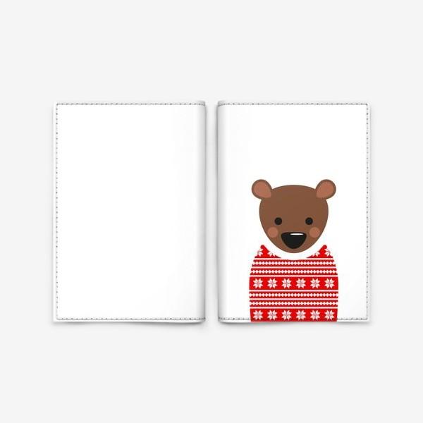 Обложка для паспорта «Новогодний медведь»