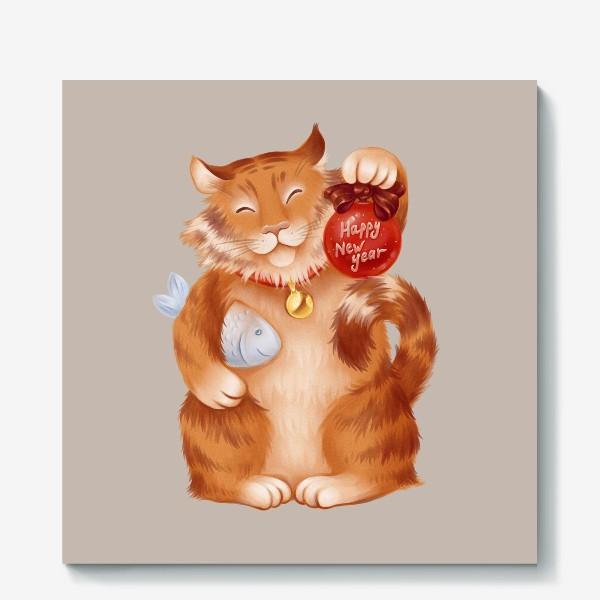 Холст «новогодний котик»