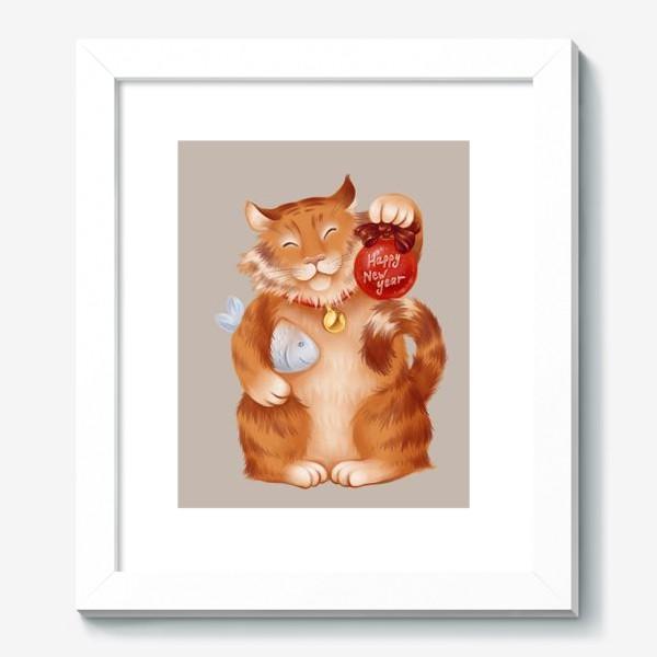 Картина «новогодний котик»
