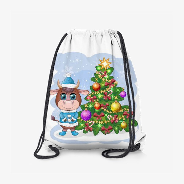 Рюкзак «Бык, символ 2021 года, бык возле елки»