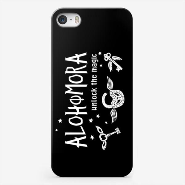 Чехол iPhone «Alohomora/ Алохомора. Заклинание. Harry Potter/ Гарри Поттер. Черный фон»