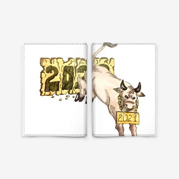 Обложка для паспорта «Суровый бык»