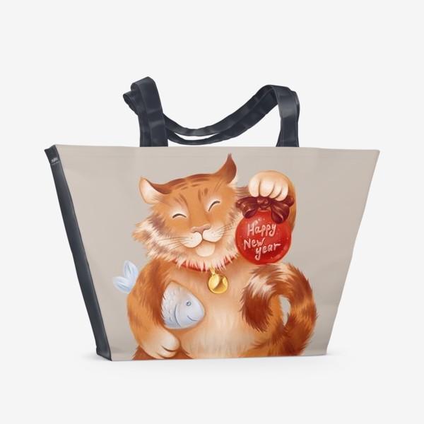 Пляжная сумка «новогодний котик»