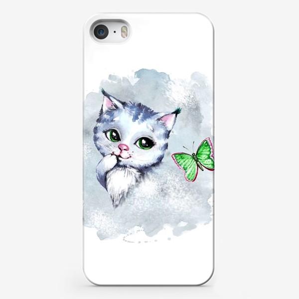 Чехол iPhone «Котёнок с бабочкой»