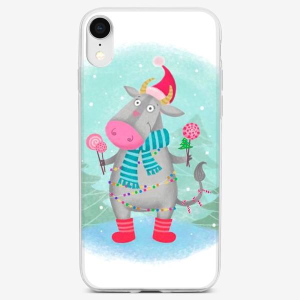 Чехол iPhone «Праздничная коровка»