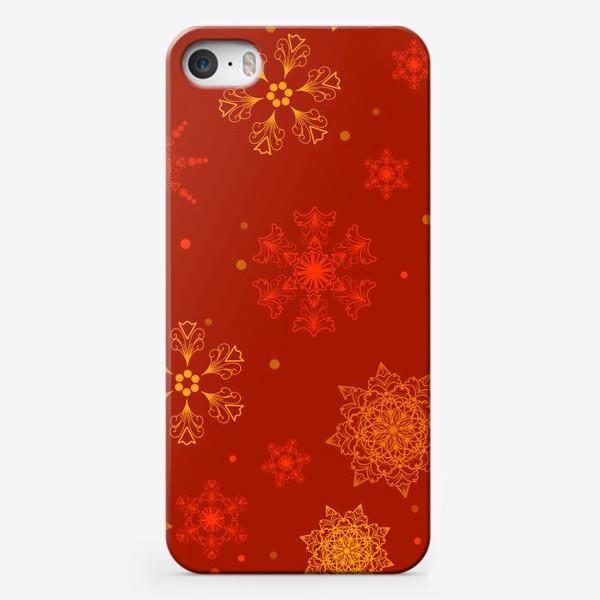 Чехол iPhone «снежинки на красном»