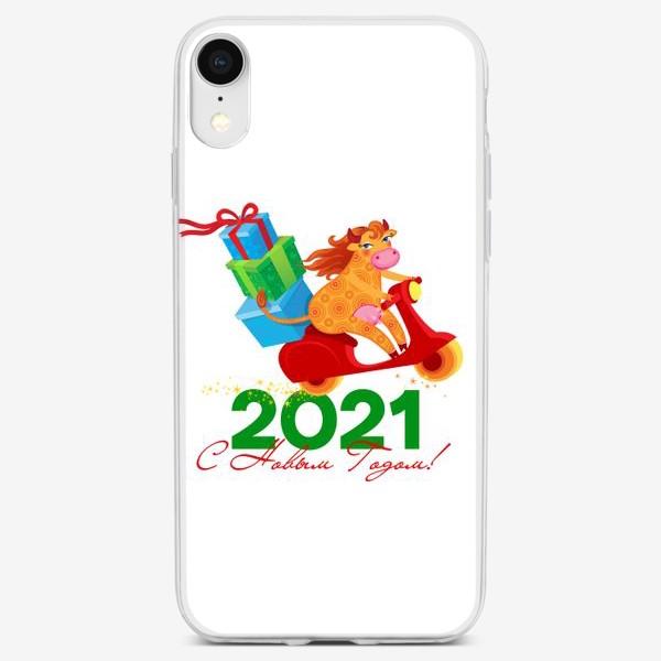 Чехол iPhone «С Новым Годом! Год Быка 2021»