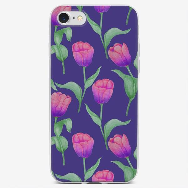 Чехол iPhone «Тюльпаны на фиолетовом фоне»