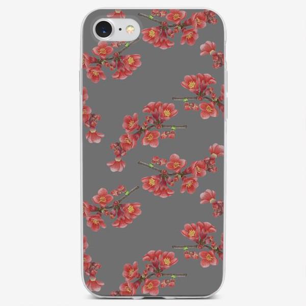 Чехол iPhone «Цветы айвы на сером фоне»