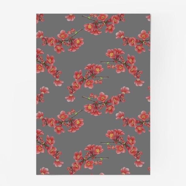 Постер «Цветы айвы на сером фоне»