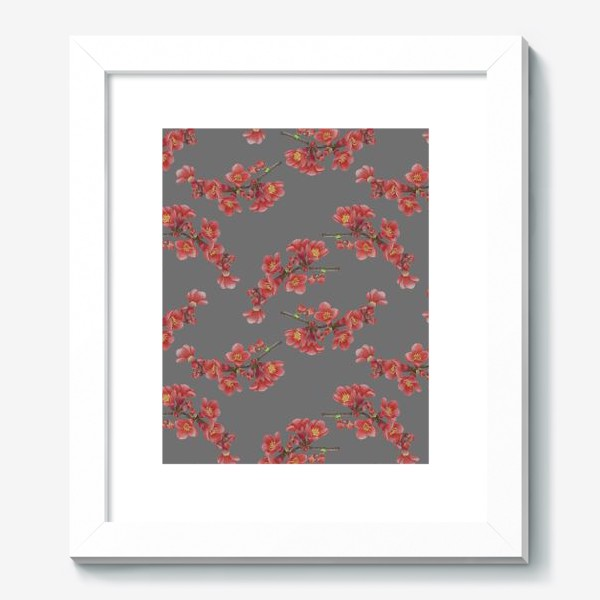 Картина «Цветы айвы на сером фоне»