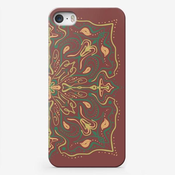 Чехол iPhone «Паттерн .Абстракция на коричневом фоне »
