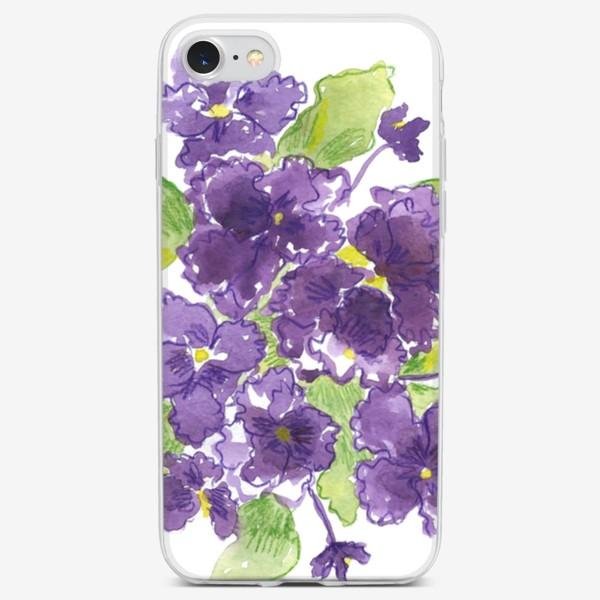 Чехол iPhone «фиолетовые фиалки, принт на футболку и в интерьер»