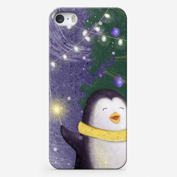 Чехол iPhone «Веселый пингвин праздник новый год рождество елка огни»