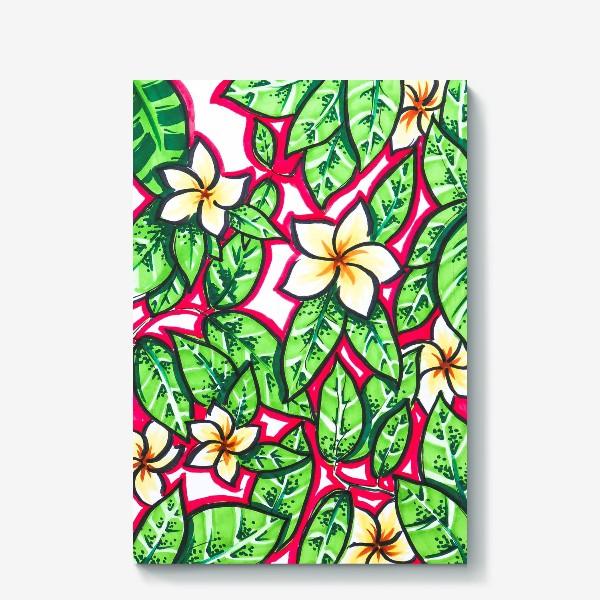 Холст «Тропические цветы и листья»