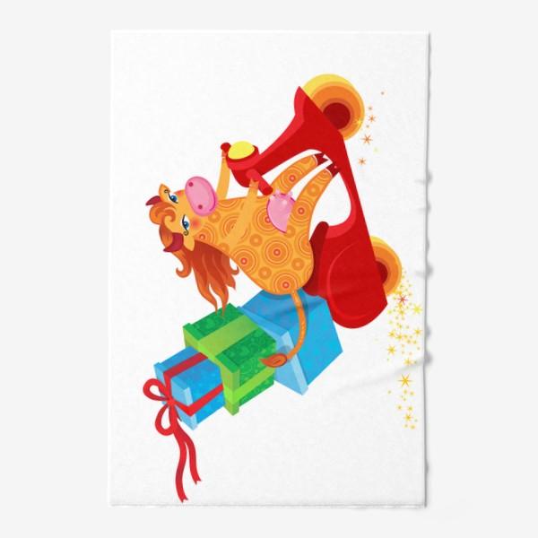 Полотенце «Оранжевая корова с подарками на красном скутере. Год Быка 2021»