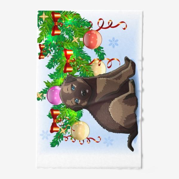 Полотенце «Милая маленькая собачка возле если с шарами, новый год»