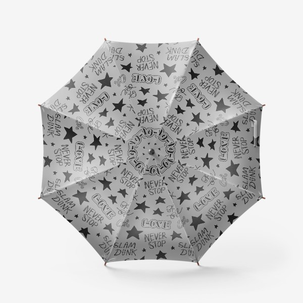 Зонт «Серый паттерн. Баскетбол. Не останавливайся!»