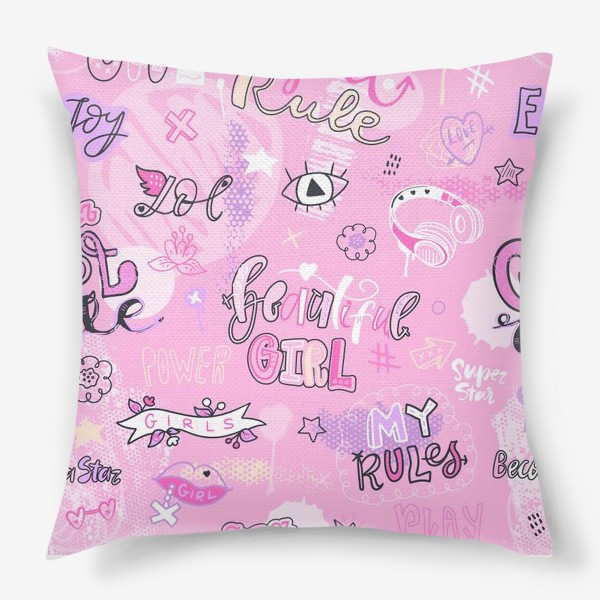 Подушка «Девушка. Мои правила. Паттерн.»