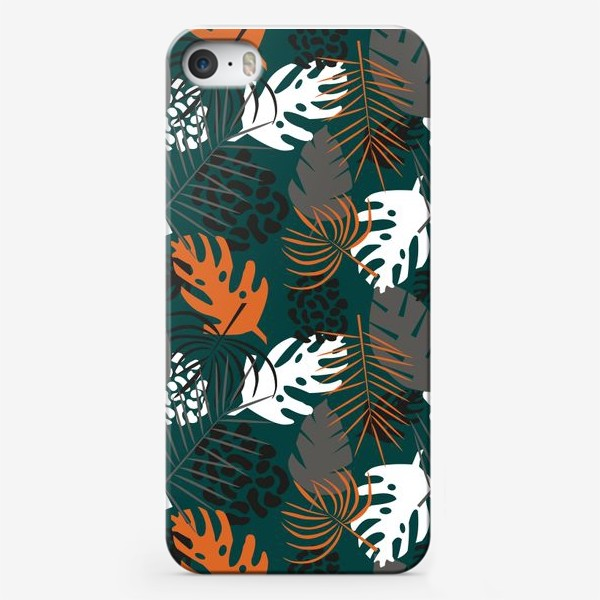 Чехол iPhone «Паттерн Тропические листья на темно-зеленом фоне»