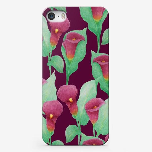 Чехол iPhone «Каллы на темно-вишневом фоне»