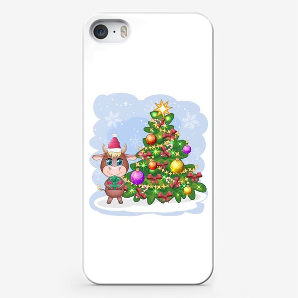 Чехол iPhone «Бык, символ 2021 года, бык с подарком возле елки»