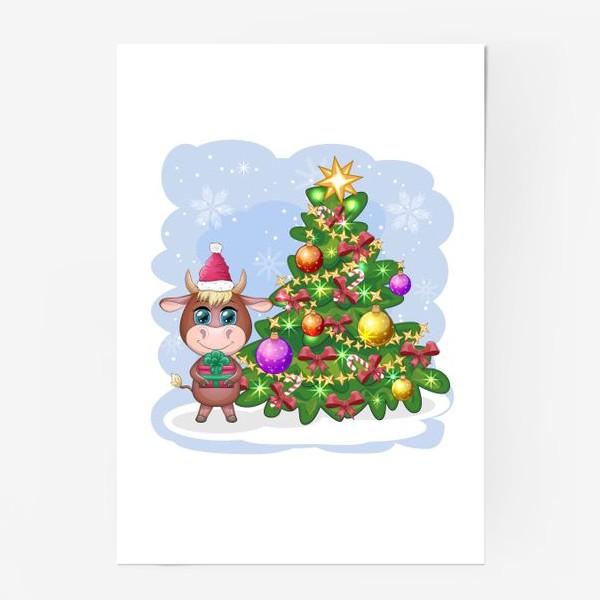 Постер «Бык, символ 2021 года, бык с подарком возле елки»