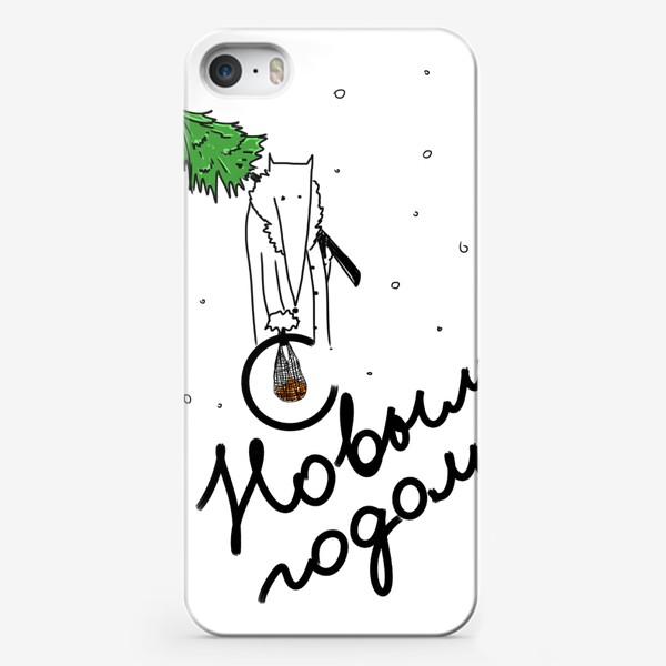 Чехол iPhone «С новым годом! Лис с елкой и мандаринами »