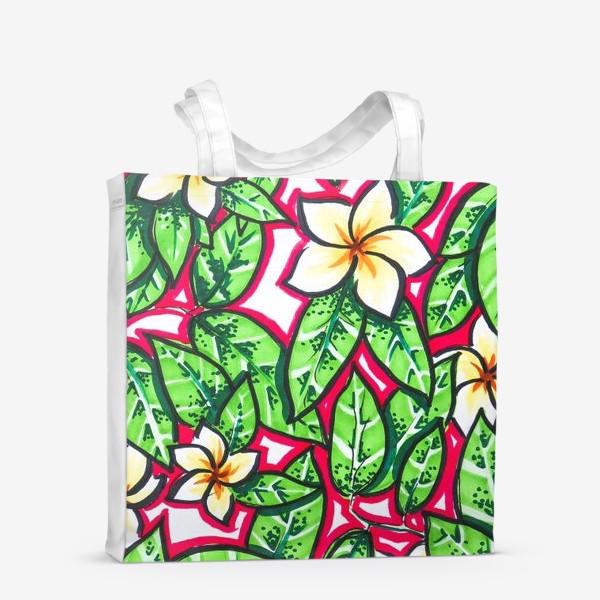 Сумка-шоппер «Тропические цветы и листья»
