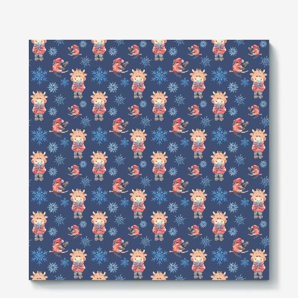 Холст «Зимние бычки на синем»