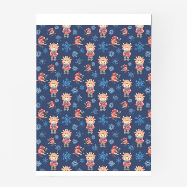 Постер «Зимние бычки на синем»