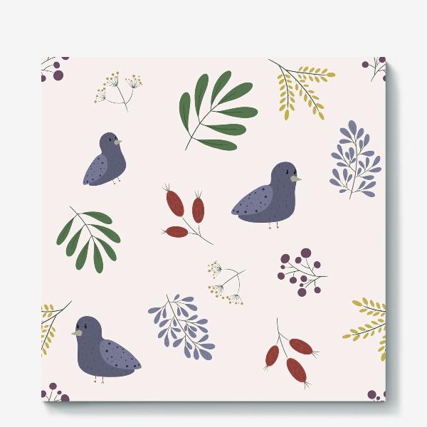 Холст «лесные птички»