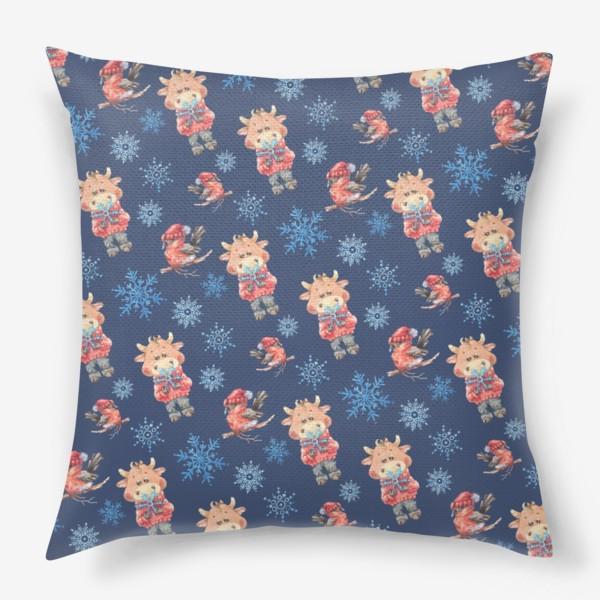 Подушка «Зимние бычки на синем»
