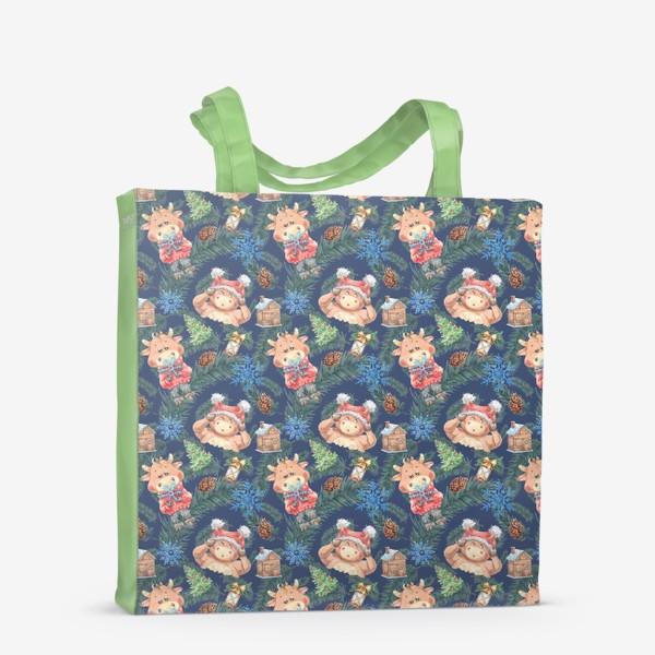 Сумка-шоппер «Новогодние бычки на синем»