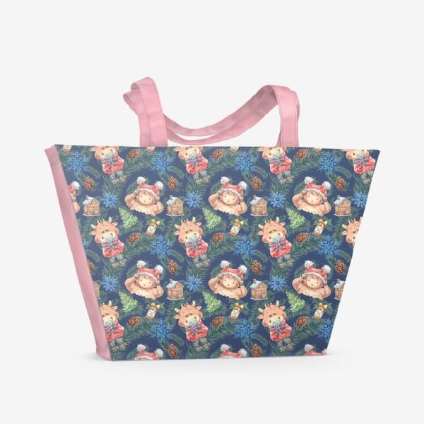 Пляжная сумка «Новогодние бычки на синем»