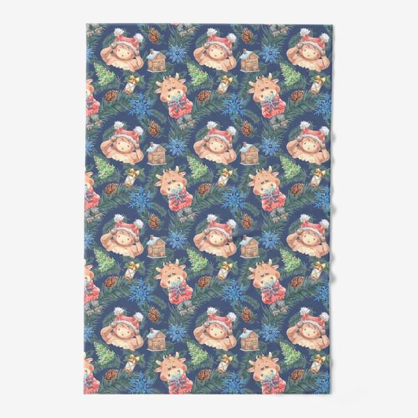 Полотенце «Новогодние бычки на синем»