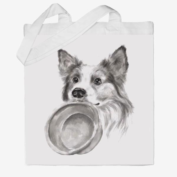 Сумка хб «Портрет собака колли с миской»