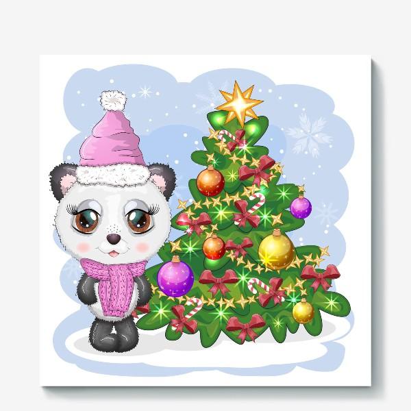 Холст «Панда с новогодней елочкой, новый год»
